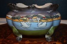Gorgeous Nippon Noritake Moriage Stylized Village Swans Ferner~Large Bowl marked