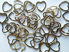 5 x Big Heart Shaped Split Rings Keyrings, 32mm x 3mm strong nickel plated steel