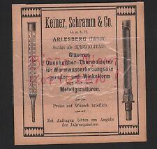 ARLESBERG, Werbung 1912, Keiner, Schramm & Co. gläserne Quecksilber-Thermometer