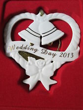 LENOX Porcelain China Annual Wedding Day 2013 Heart & Bells Ornament NIB