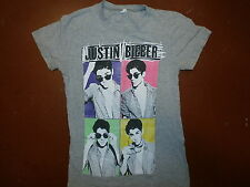 JUSTIN BIEBER T SHIRT Younger Pop Art Print Gray GIRLS/JUNIORS