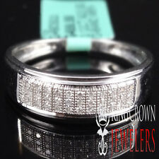 MEN'S NEW WHITE GOLD PLATED REAL GENUINE DIAMOND .12CT DIAMOND WEDDING RING BAND