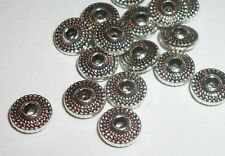 Antique silver pewter 8x3mm 2mm hole saucer spacer beads -- 50 pieces (9014MB)