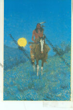 """FREDERIC REMINGTON-THE OUTLIER-INDIAN-4""""X6"""" POSTCARD-(INDIAN4X6-25*)1987"""