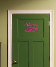 Custom Princess Name Door Sticker Decal Pink for Childs Bedroom