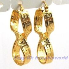 "1.57"" REAL EXQUISITE 18K YELLOW GOLD GP HOOP EARRING GREEK KEY TWIST SOLID FILL"