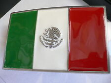 New Men Women Silver Western Cowboy Belt Buckle Mexico Mexican Flag Silver Eagle