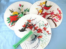 10 CHINESE FLOWER BIRD FOLDING PLEATED PAPER HAND FAN NEW YEAR JAPANESE PARTY CC