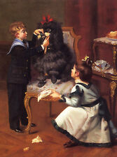 POODLE DOG GREETINGS NOTE CARD SMALL BOY & GIRL IN VICTORIAN DRESS PLAY WITH DOG