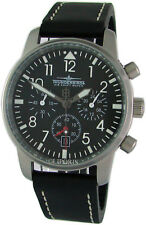 Thunderbirds Fliegeruhr Chronograph Edelstahl Leder air mens pilot watch Ø40mm