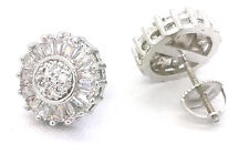 Women 925 Sterlng Silver Round Baguette Clear Cubic CZ Screw Stud Earring Retro
