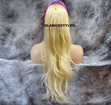 "27"" Long Layered Bleach Blonde Ponytail Hair Piece Extensions Drawstring #613"