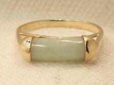 Estate 14K Yellow Gold Jade Bar Ring Signed 585 14kt