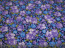 3 Yards Quilt Cotton Fabric - Fabric Traditions Purple & Blue Floral Packed
