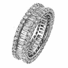 2.50carat Round & Baguette Cut Diamonds Full Eternity Wedding Ring in Gold