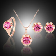 Princess pink crystal Cz Gold plated wedding necklace earring ring jewelry set