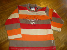 ~JEAN BOURGET~ BOY'S GRAY ORANGE RED Striped SHIRT 3T VERY NICE!