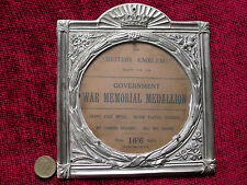 Replica Copy WW1 Memorial Plaque Holder aged metal ready to frame