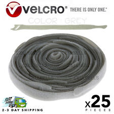 "25 VELCRO Brand Ties Cable Cord Organizer Wraps Reusable Die Cut Straps 8"" Grey"