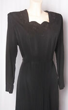 40s Divine Black Faille Dress with Scallped Neckline & Embroidery with Beadwork