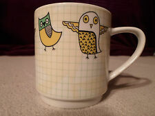 New ! Retro Cartoon Owl Coffee Mug Tea Cup Green Grid Creative Top Glass Bird