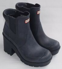 HUNTER Original Chelsea Block Heel Dark Blue Rubber Rain Ankle Boots Womens 8