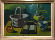 Eyvind Olesen (1907-1995): STILL LIFE WITH BASKET, BOOK, BOWL, BOTTLE AND APPLE