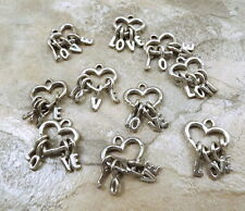 Set of 10 Pewter Charms - HEART with LETTER Dangles (L O V E)  - 5367