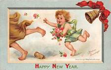 Signed Brundage, u. 1912, New Year, Baby Chasing Father Time, Series #316