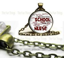 School Nurse Glass Top Pendant Bronze with Rolo Chain Great Nurse Gift Jewelry
