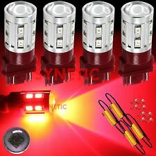 4X 3157 High Power CREE Red Turn Signal Blinker LED Light Bulbs + 4 Resistors