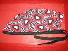 Surgical Scrub Hats/Cap   Valentine's Day    Hearts on Zebra