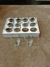 Lot Of 12 New Jim Beam Devil's Cut shot glass black on clear