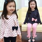 Girls Outfits Polka Dot Kids Tops + Leggings Girl Clothes Size 2 3 4 5 6 FT1142