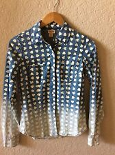 Women's Mossimo Long Sleeve Button Down Shirt Denim Blue White Hearts XS Ombre
