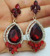 Rhinestone Crystal Chandelier Earrings Bridal Prom Pageant 3 inch Long Red