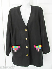SIMON CHANG Vintage Rayon Black Jacket Blazer Color Accent on Pockets Sz 12 EUC