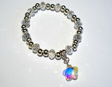'AAA' GRADE AB RAINBOW CRYSTAL GLASS BEADED STRETCH FLOWER CLIP CHARM BRACELET