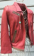 Sylvie Schimmel PARIS Reddish Pink Lamb Leather Moto Jacket Sz 36