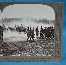 WW1 Stereoview French 75s Returning To Chemin Des Dames Pass Prisoner St Quentin