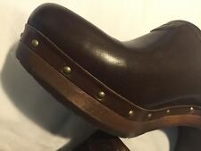 New Uggs Brown Leather Clogs platform Shoes Size 7