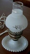 Nice Vintage Milk Glass Candlewick Desk Lamp, Milk Glass Frosted Shade VGC