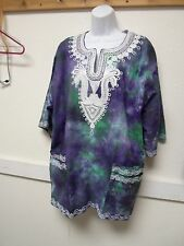 African Inspired Dashiki Tunic Blue and Green Tie Dye Fabric