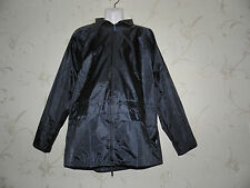 Navy BLUE  WEAR Waterproof  fold-away hood Camping Picnic Raincoat Coat Size M