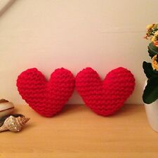 Set of 2 Hand Knitted Red Heart Shaped Mini Cushions - Valentine's Day Gift