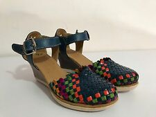New Handmade Mexican Shoes Leather Sandals Multicolor Wedges platforms Huaraches