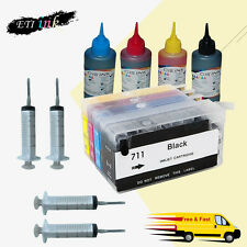 1SET Refillable Ink Cartridge Kit for HP 711 HP711 HP Designjet T520 T120 Series