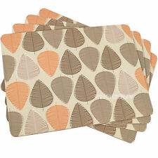 Set of 4 Beige Orange & Brown Leaf Dining Table Placemats Tablemats Mats Setting