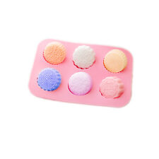 6-Cavity Round Mooncake Chocolate Muffin CupCake Soap Silicone Mold Pan Tray
