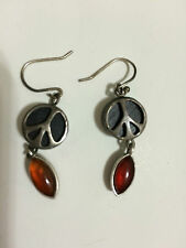 Lucky Brand Small Black Peace Sign Amber Stone Drop Earrings Silver New